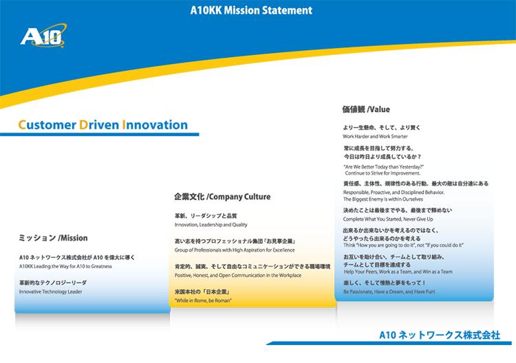 A10ネットワークス株式会社 企業理念